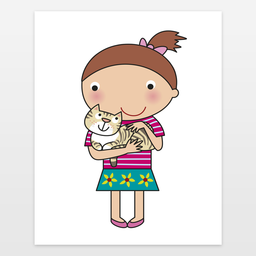 girl and kitty cat