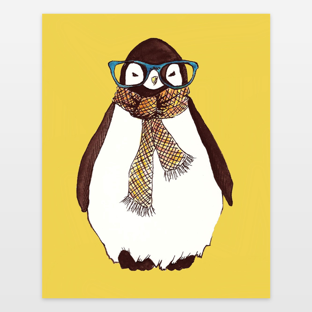 Hipster Penguin In Yellow