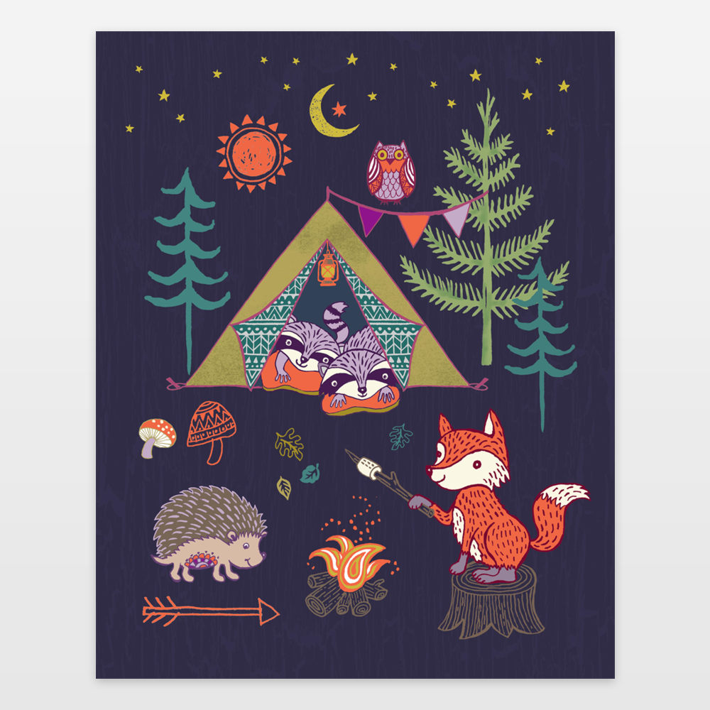 Woodland Animals Camping Out