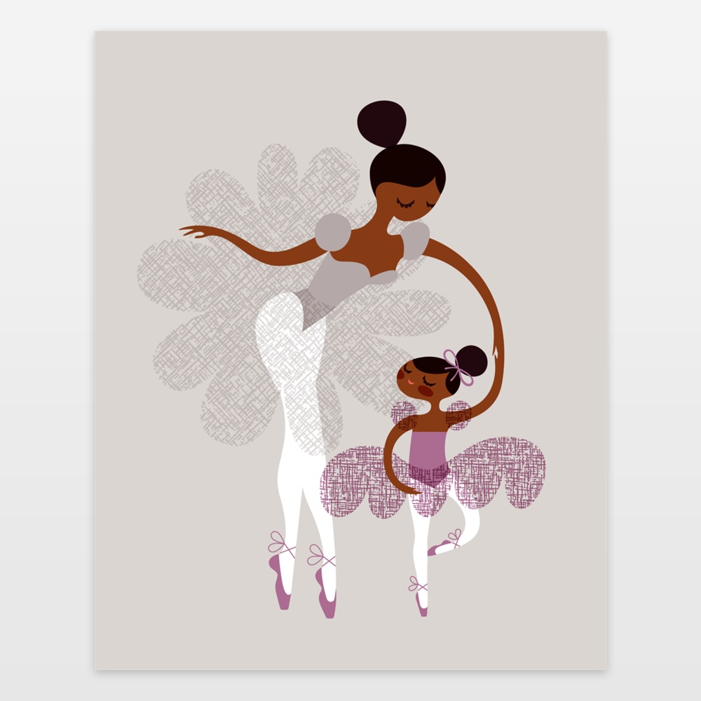 Ballerina Mother and Daughter - African American