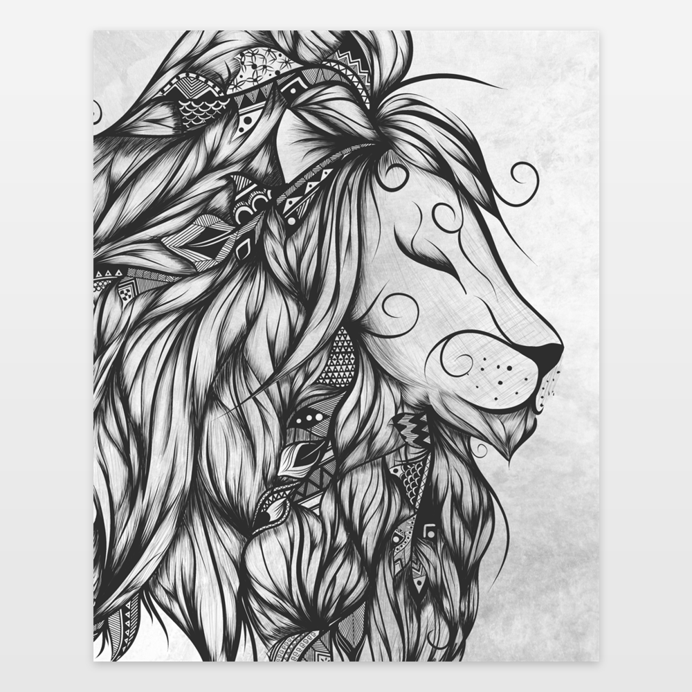 Poetic Lion B and W