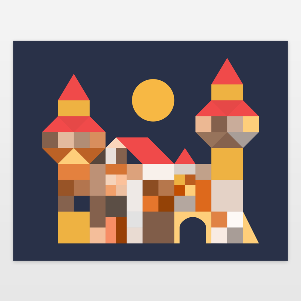 Medieval Castle made of blocks