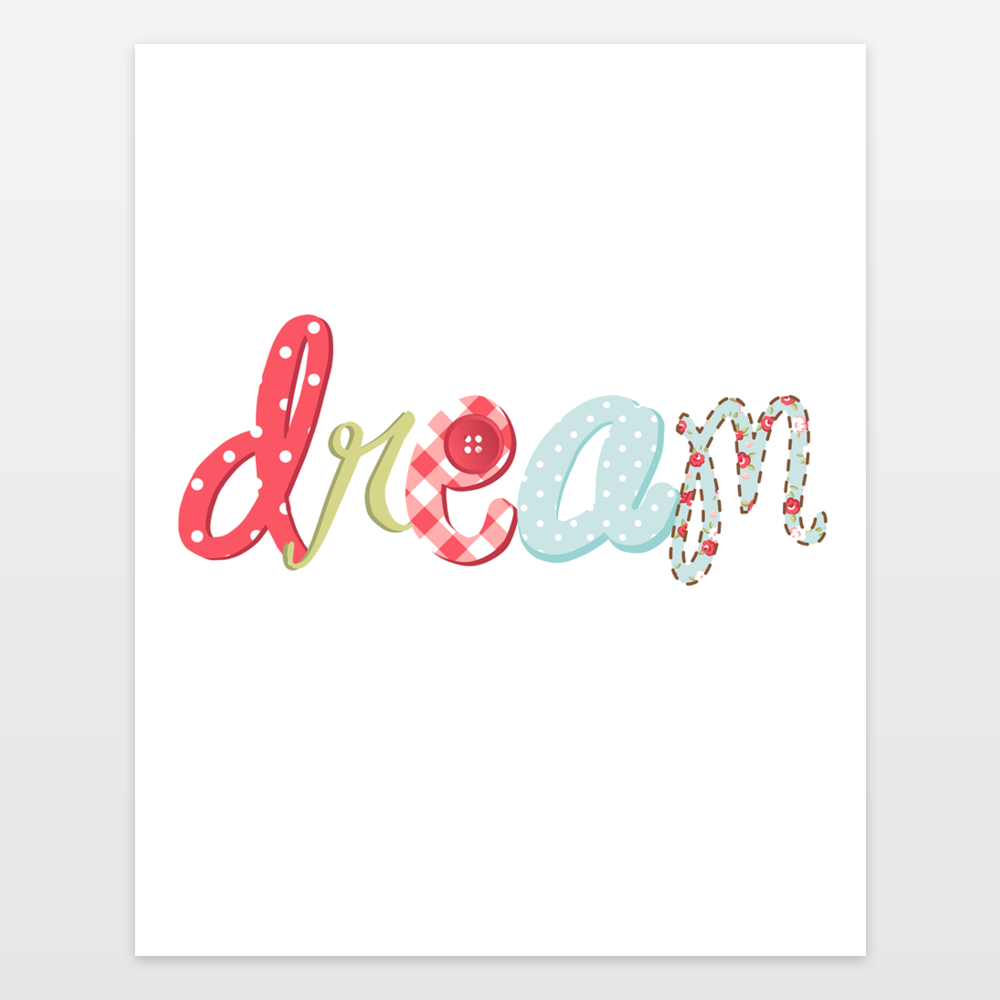 Dream Flower Typography Baby Girl Nursery Decor