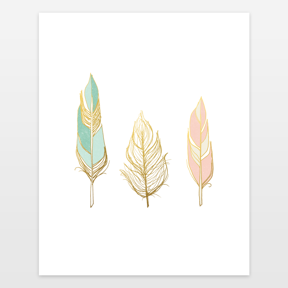 """Three Feathers - Gold Mint Blush"" by Storybird Prints, BoomBoom Prints"
