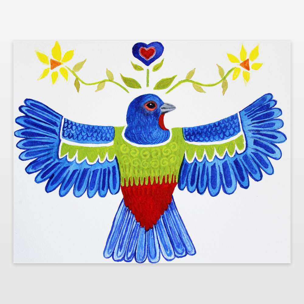 painted bunting watercolor painting and design