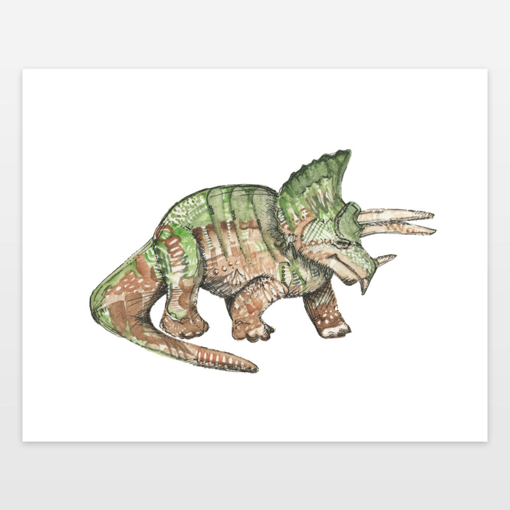 Green and Brown Triceratops Dinosaur Watercolor and Ink Art
