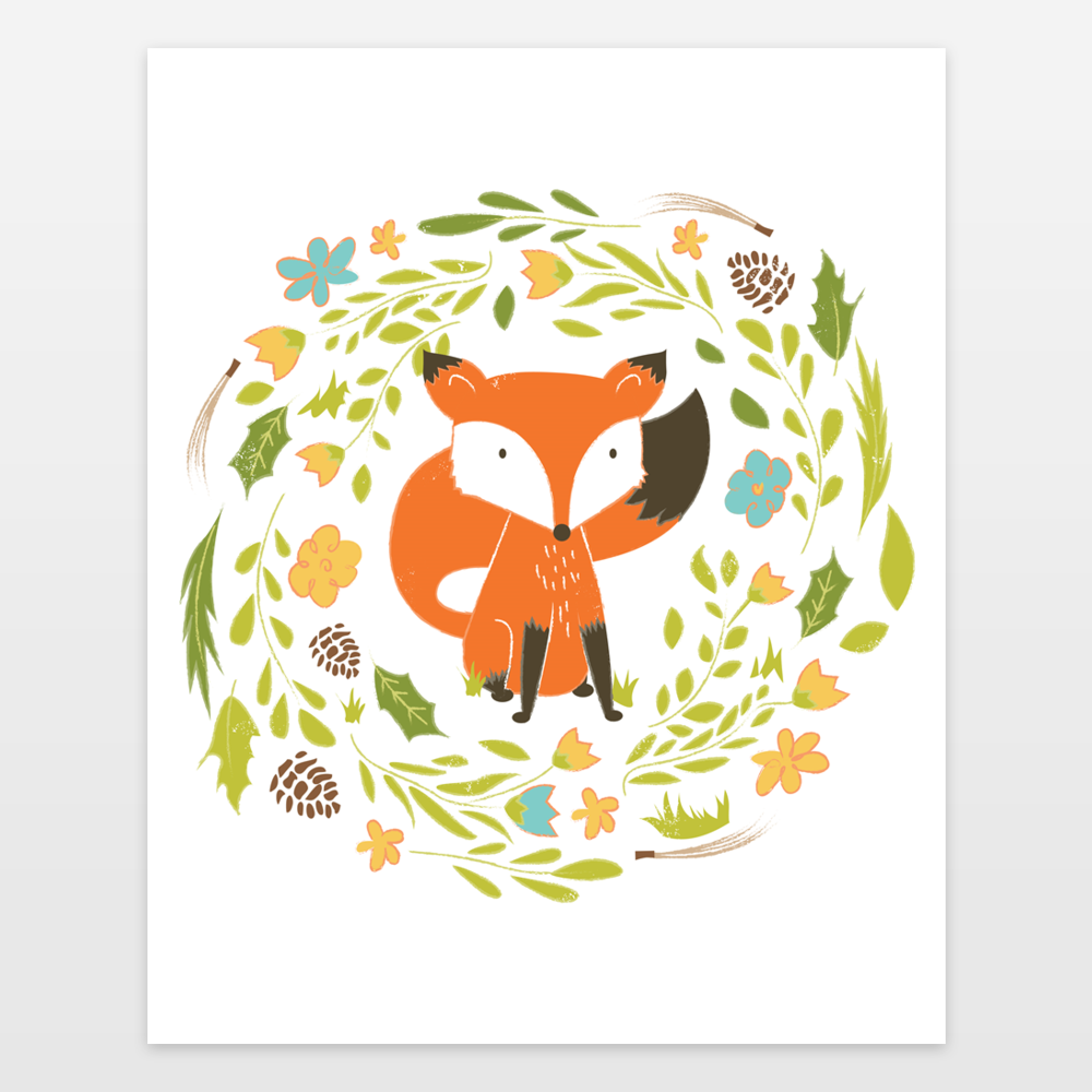 Woodland fox textured illustration with flower wreath