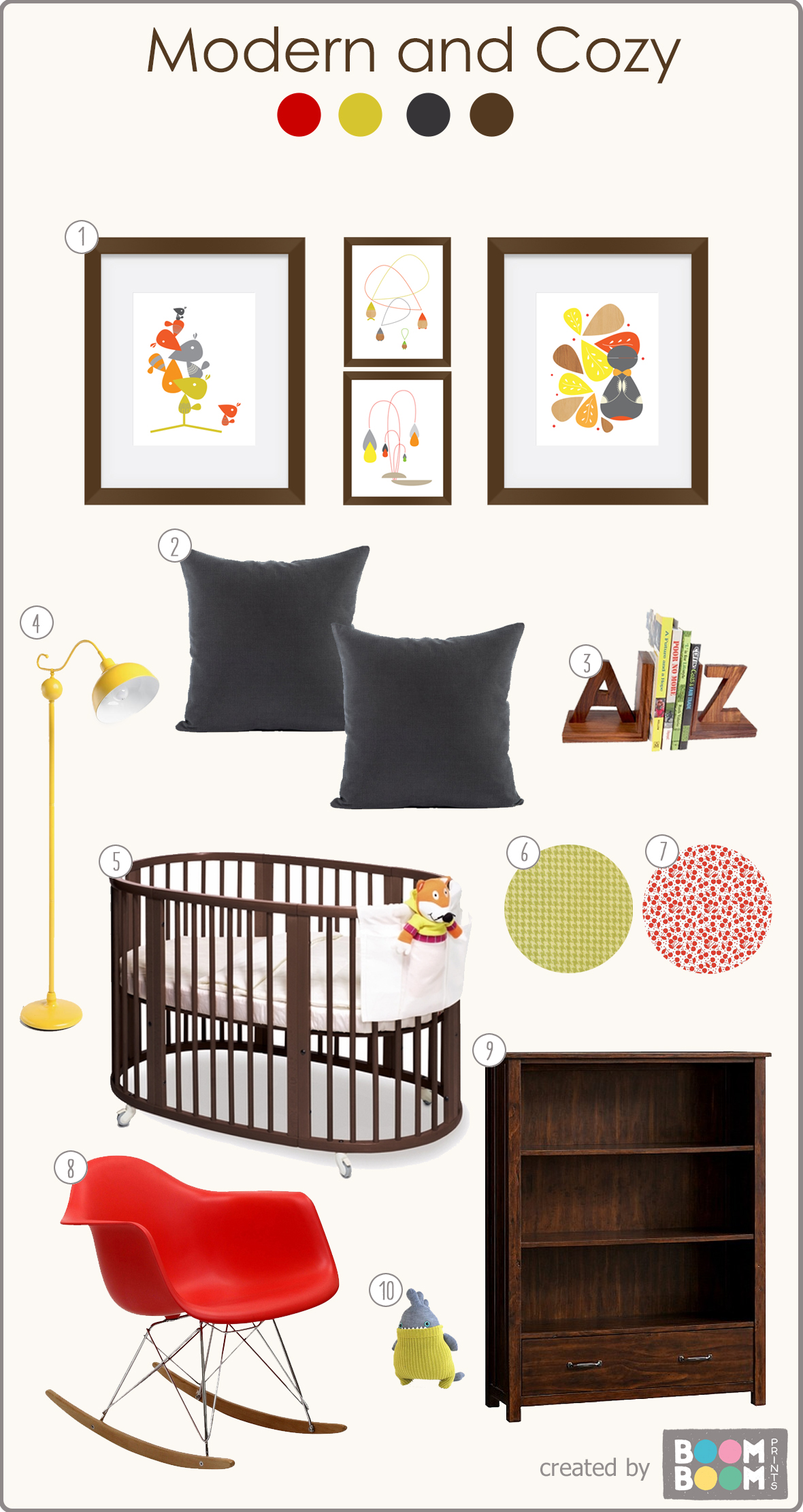 I like the dark colors and pops of color of this nursery!  Featuring wall art from BoomBoom Prints