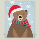 """Christmas Bear"" wrapped canvas by featured holiday artist Happy Fox Design on BoomBoom Prints"