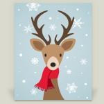 """Christmas Deer"" wrapped canvas by featured holiday artist Happy Fox Design on BoomBoom Prints"