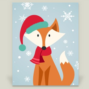 """Christmas Fox"" wrapped canvas by featured artist Happy Fox Designs on BoomBoom Prints"