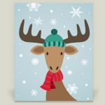 """Christmas Moose"" wrapped canvas by featured holiday artist Happy Fox Design on BoomBoom Prints"