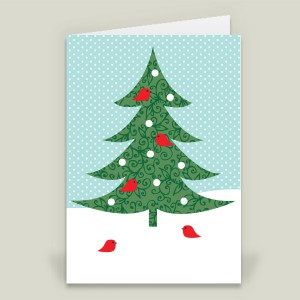 """Birds on Christmas Tree"" folded card by featured holiday artist Melissa Held on BoomBoom Prints"