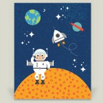 Astronaut space nursery art print