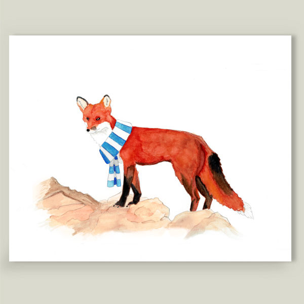 """Red Fox with a Scarf"" by All Broke, BoomBoom Prints"