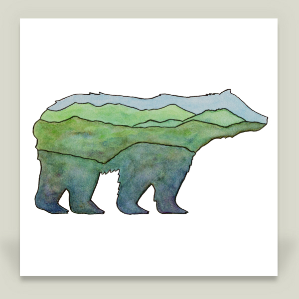 """Mountain Bear"" by Kim Nolan, BoomBoom Prints"