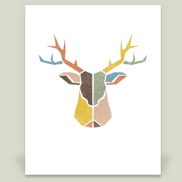 """Modern Distressed Deer Head I"" by Lauren Mary, BoomBoom Prints"