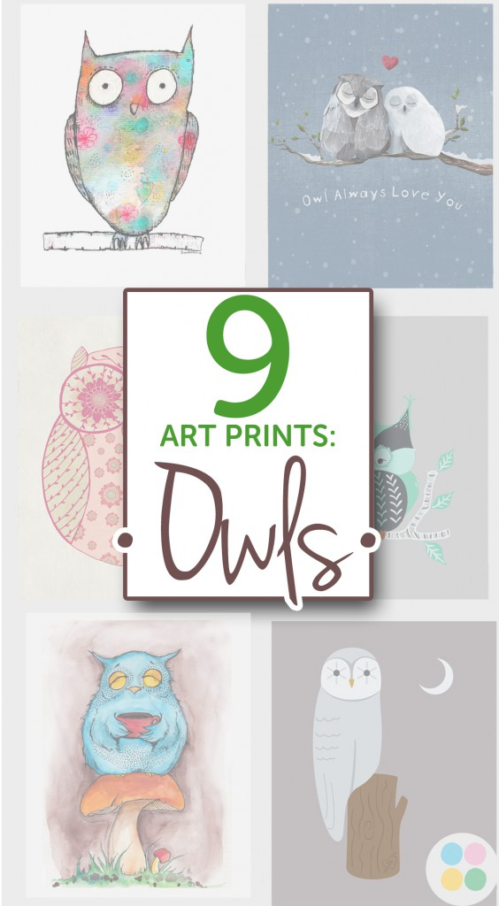 9 Art Prints of Owls from BoomBoom Prints
