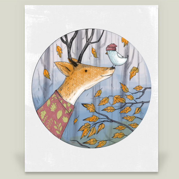 """Dear and Bird"" by Cihandag, BoomBoom Prints"