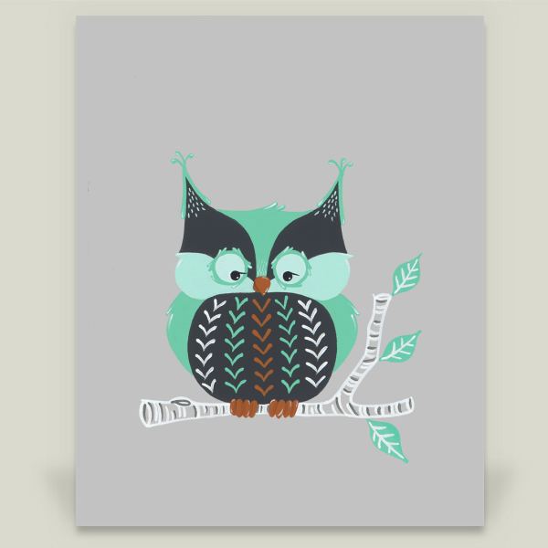 """Woodland Trio - Owl"" by Little Bristles, BoomBoom Prints"