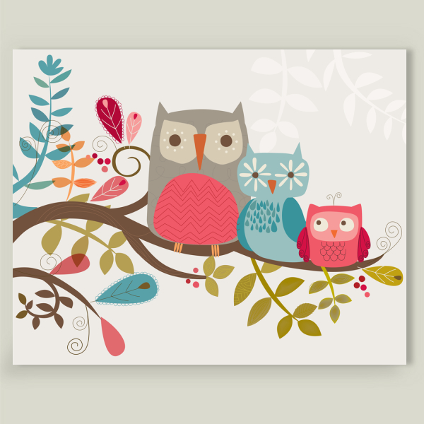 """Owl Family"" by Heidi Mcintyre, BoomBoom Prints"