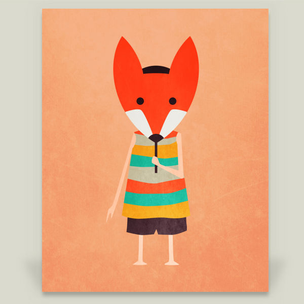 """Fox-Masked Kid"" by Annisa Tiara Utami, BoomBoom Prints"