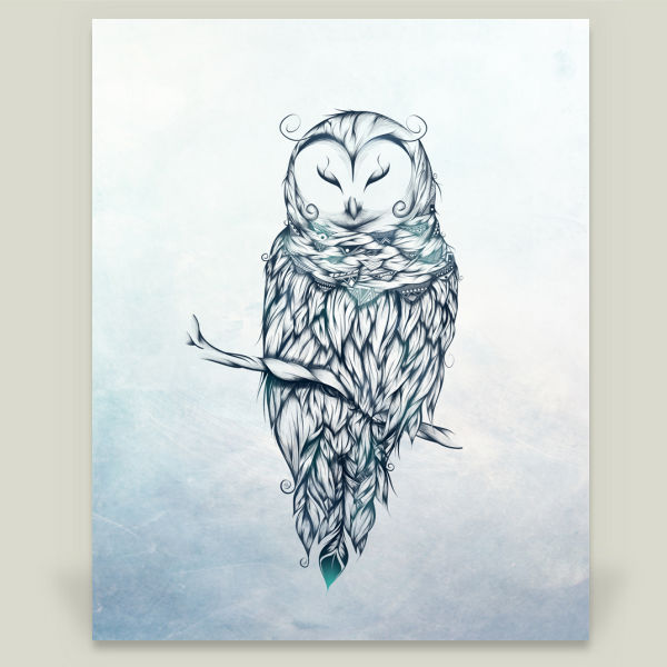 """Snow Owl"" by LouJah, BoomBoom Prints"