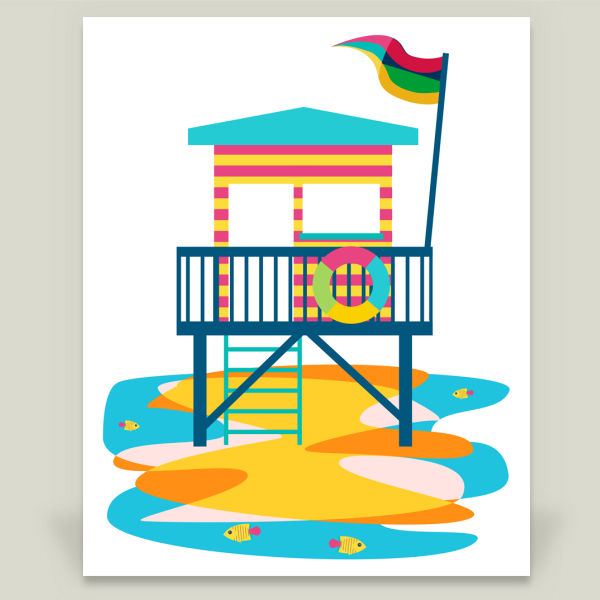 """Lifeguard Hut"" by Sam Osborne, BoomBoom Prints"