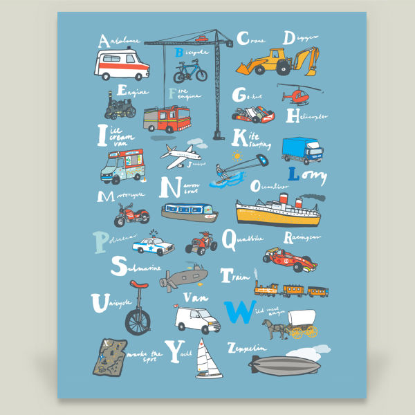 """ABC Poster for Boys"" by Hanna Melin, BoomBoom Prints"