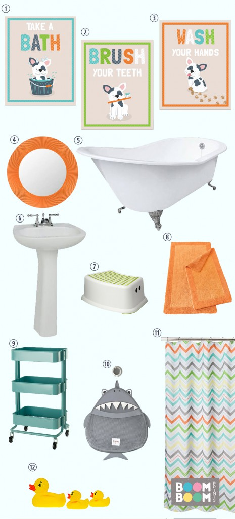 Kids Bathroom Style Board from BoomBoom Prints