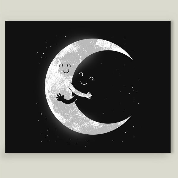 """Moon Hug"" by Carbine, BoomBoom Prints"