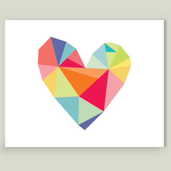"""Geometric Print - Colorful Heart"" by Hello Olive Designs, BoomBoom Prints"