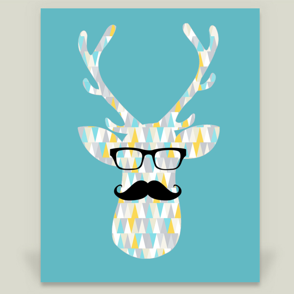 """Hipster Deer"" by Sammiey Olsen, BoomBoom Prints"
