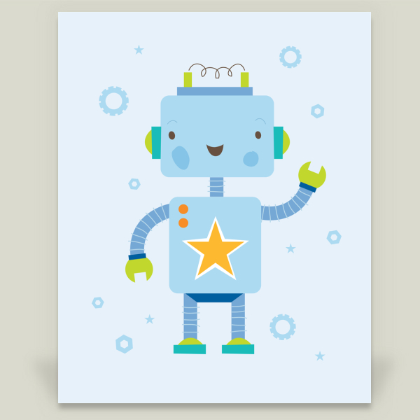 """Robot Buddy 1"" by The Ink House, BoomBoom Prints"