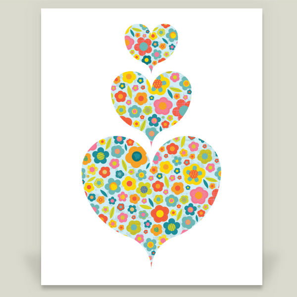 """Floral Hearts"" by Ryan Deighton, BoomBoom Prints"
