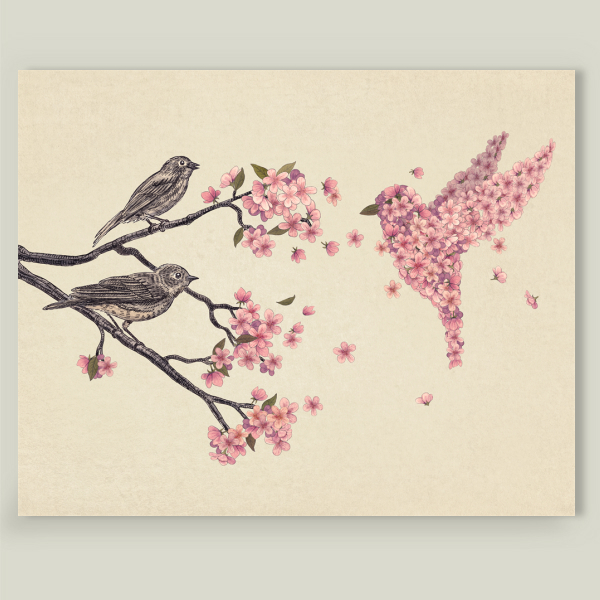 """Blossom Bird"" by Terry Fan, BoomBoom Prints"