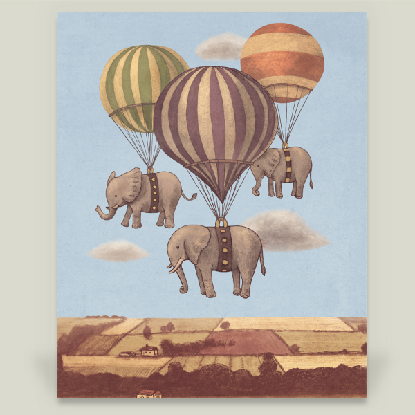 """Flight of the Elephants"" by Terry Fan, BoomBoom Prints"