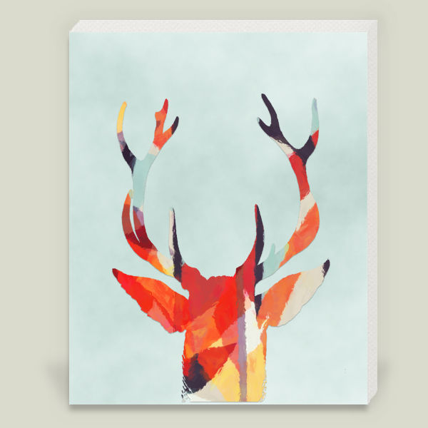 """Deer Antlers Aztec Watercolors-Woodlands"" Wrapped Canvas Print by  Storybird Prints"
