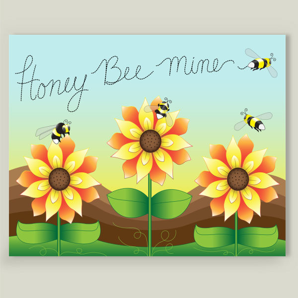 """Sunflowers and Bumblebees-Honey Bee Mine"" by Nicole Lindblom Design, BoomBoom Prints"