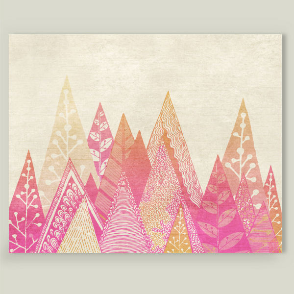 """Pink Mountains"" by Rose Bud Studio, BoomBoom Prints"
