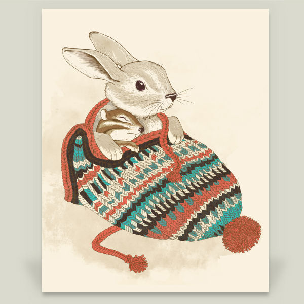 """cozy chipmuck and rabbit"" by laura graves, BoomBoom Prints"