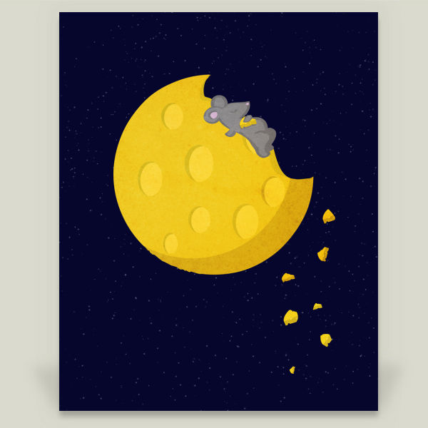 """If I could take a mouse on the moon"" by DejaReve, BoomBoom Prints"