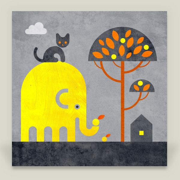 """Elephant and Cat"" by Scott Partridge, BoomBoom Prints"