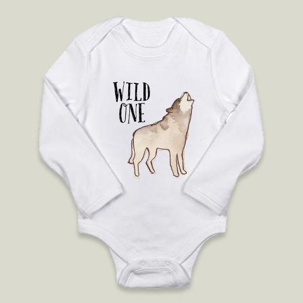 """Wild One"" Long-Sleeve Onesie  by Storybird Prints"