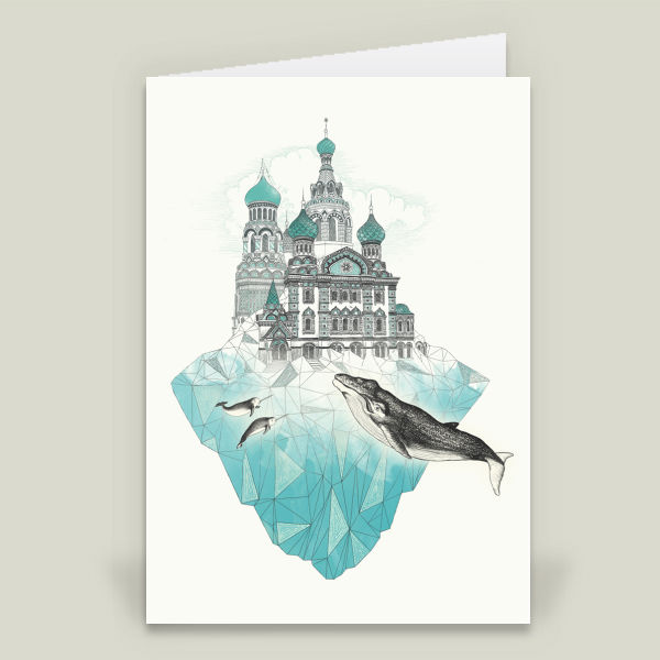 """st peters ice burg"" Folded Cards by laura graves, BoomBoom Prints"