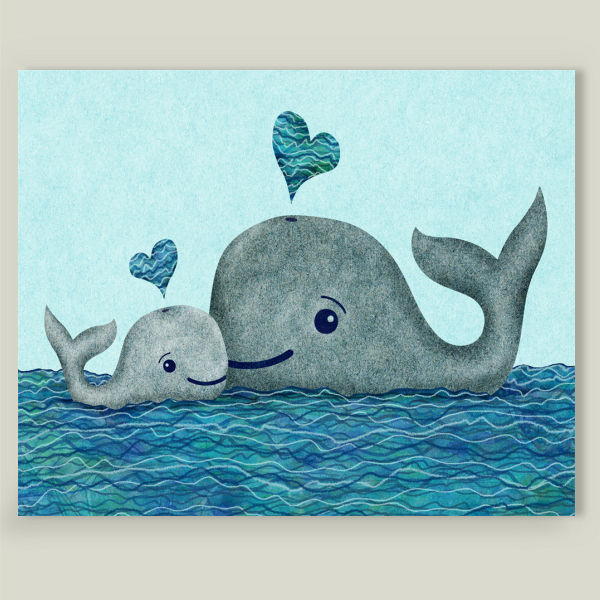"""Whale Mom and Baby by Elephant Trunk Studio, BoomBoom Prints"