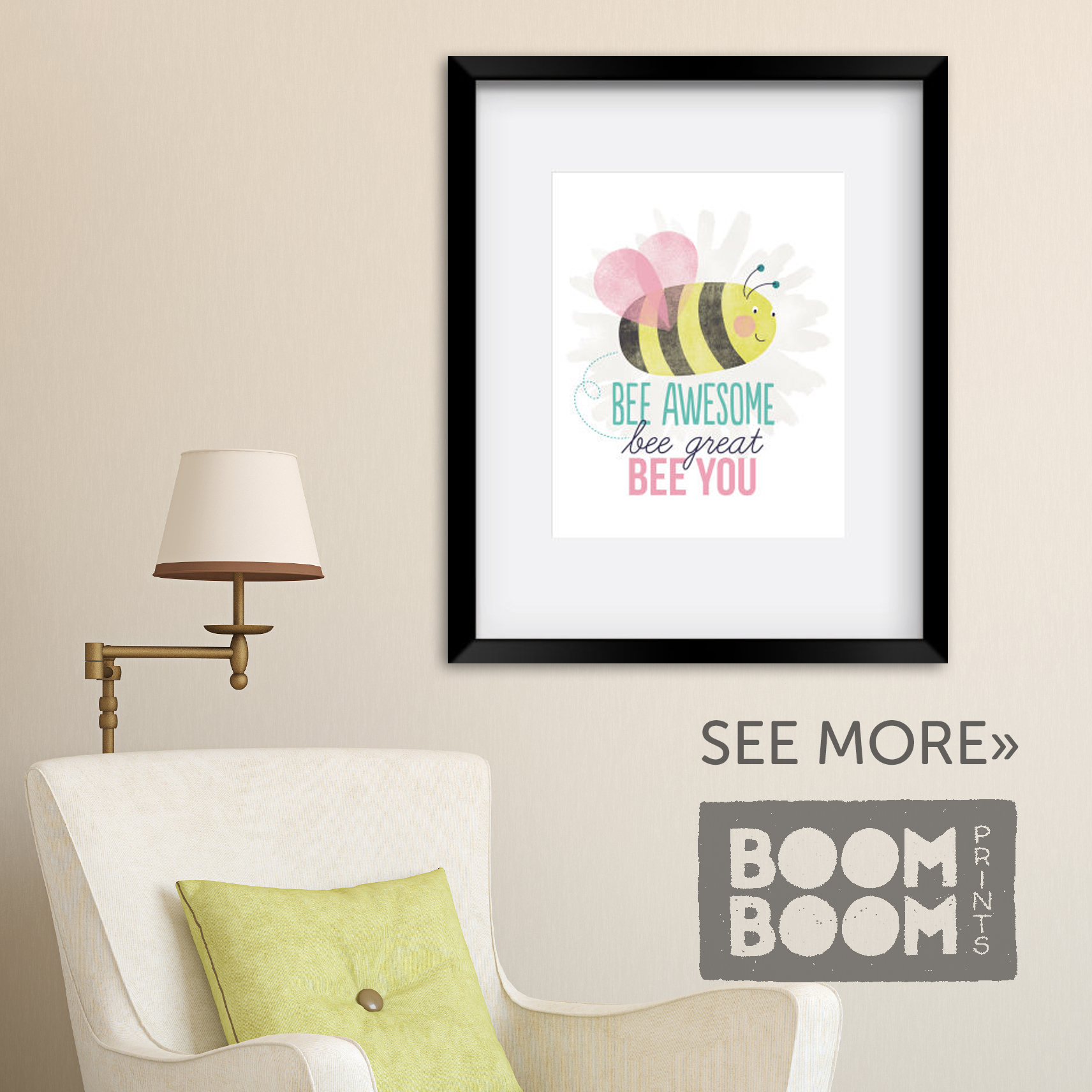 Bee Awesome Bee You art print by BoomBoom Prints Artist Zoe Wodarz