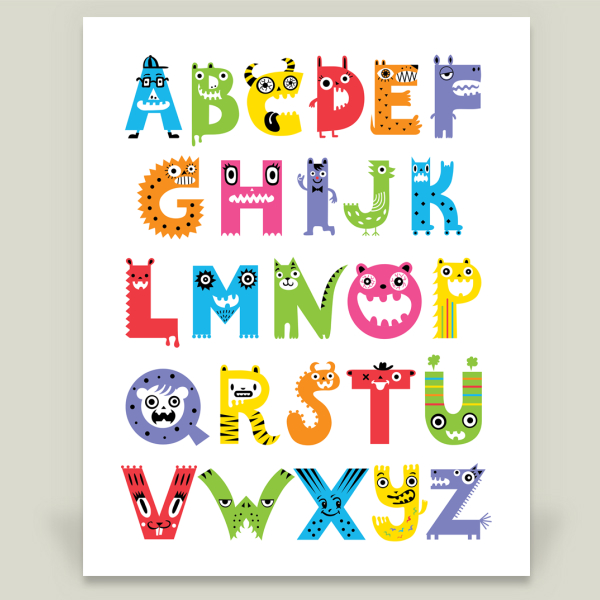 """Alphabet Monsters"" by Andi Bird, BoomBoom Prints"