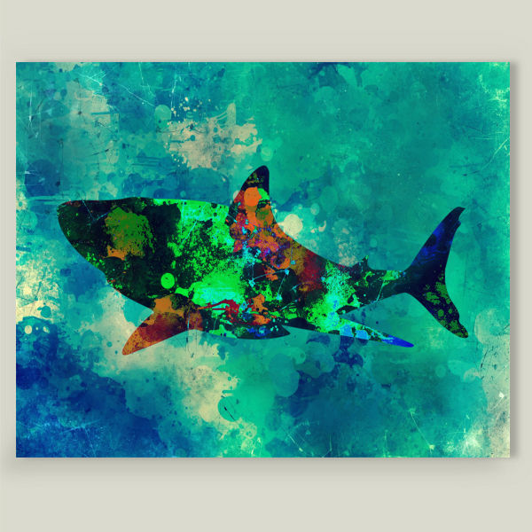 """Shark Color Splash"" by Animals and Nature, BoomBoom Prints"