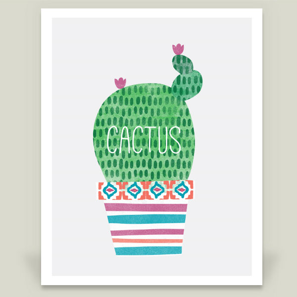 Lazy Cactus Afternoon art print by BoomBoom Print Artist Zoe Wodarz